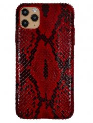 Чехол-накладка кожаная для iPhone 11 Pro No Logo Питон (Красный)
