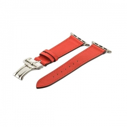 Ремешок кожаный для Apple Watch 42/ 44мм COTEetCI W16 Fashion застёжка бабочка (Красный)