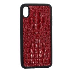 Чехол-накладка кожаная для iPhone XS Max Vorson крокодил (Красный)