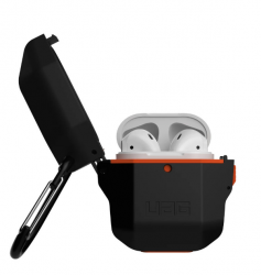 Чехол для AirPods 1/ 2 UAG Hard case (Чёрный/ оранжевый)