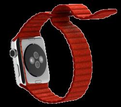 Ремешок кожаный для Apple Watch 38/ 40мм Рифленый (Красный)