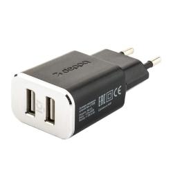 Сетевое зарядное устройство Deppa Wall charger 2.4А, дата-кабель microUSB (2USB: 5V/2.4A) Черный