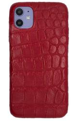Чехол-накладка кожаная для iPhone 11 No Logo Кроко (Красный)