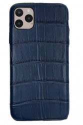 Чехол-накладка кожаная для iPhone 11 Pro Max No Logo Аллигатор (Синий)