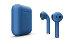 Беспроводная гарнитура Apple AirPods 2 Color беспроводная зарядка чехла (Синий матовый)