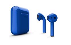 Беспроводная гарнитура Apple AirPods 2 Color беспроводная зарядка чехла (Синий глянцевый)
