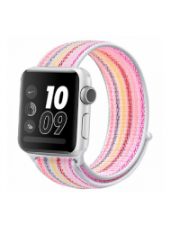 Ремешок для Apple Watch 38/ 40мм W17 Magic Tape Band (Pink Stripe)