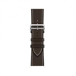 Ремешок для Apple Watch 42/ 44мм Hermès Simple Tour из кожи Barénia цвета Ébène с раскладывающейся застёжкой
