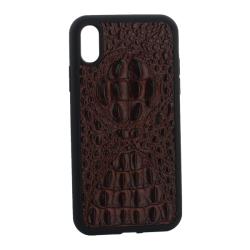Чехол-накладка кожаная для iPhone XR Vorson крокодил (Коричневый)