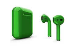 Беспроводная гарнитура Apple AirPods 2 Color беспроводная зарядка чехла (Зеленый глянцевый)