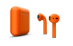 Беспроводная гарнитура Apple AirPods 2 Color беспроводная зарядка чехла (Оранжевый матовый)