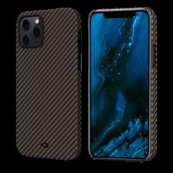 Кевларовый Чехол Pitaka Для Apple IPhone 12/ 12 Pro в полоску (Черно-коричневый)