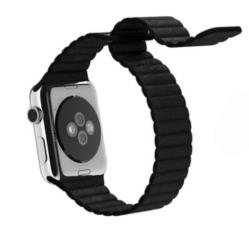 Ремешок кожаный для Apple Watch 42/ 44мм Рифленый (Черный)