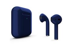 Беспроводная гарнитура Apple AirPods 2 Color беспроводная зарядка чехла (Темно-синий глянцевый)