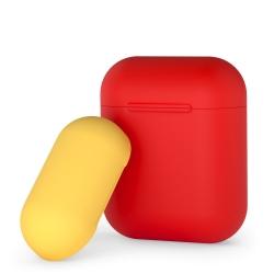Чехол силиконовый для AirPods 1/ 2 Deppa двухцветный (Красно-желтый)