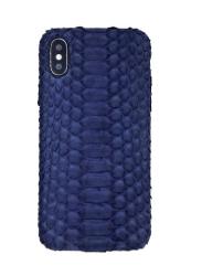 Чехол-накладка кожаная для iPhone Xs No Logo Питон (Синий)