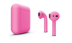 Беспроводная гарнитура Apple AirPods 2 Color беспроводная зарядка чехла (Ультро-розовый матовый)