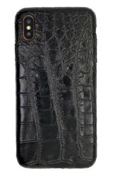 Чехол-накладка кожаная для iPhone Xs No Logo Кроко (Черный)