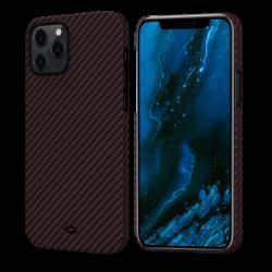 Кевларовый Чехол Pitaka Для Apple IPhone 12/ 12 Pro в полоску (Черно-красный)