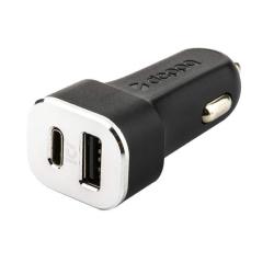 Автомобильное зарядное устройство Deppa Car charger D-11288 12/24V (USB + USB Type-C) Черный