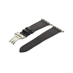 Ремешок кожаный для Apple Watch 38/ 40мм COTEetCI W16 Fashion застёжка бабочка (Черный)