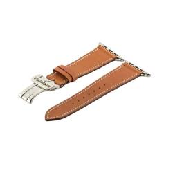 Ремешок кожаный для Apple Watch 42/ 44мм COTEetCI W16 Fashion застёжка бабочка (Коричневый)