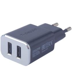 Сетевое зарядное устройство Deppa Wall charger 2.4А (2USB: 5V/2.4A) Черный