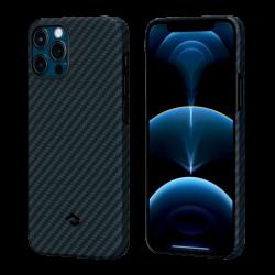 Кевларовый Чехол Pitaka Для Apple IPhone 12/ 12 Pro в полоску (Черно-синий)