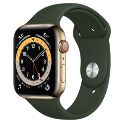 Часы Apple Watch Series 6 GPS + Cellular 44mm Gold Stainless Steel Case with Cyprus Green Sport Band