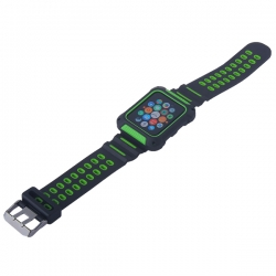 Ремешок спортивный для Apple Watch 42mm COTEetCI W31 (Черно-Зеленый)