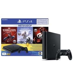 Игровая приставка Sony PlayStation 4 Slim 1 ТБ + Gran Turismo Sport + Horizon Zero Dawn + Marvel Человек Паук + Подписка PS Plus 3 мес. (CUH-2208B)