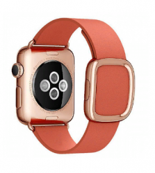 Ремешок кожаный для Apple Watch 40/ 44мм Modern Buckle (Rose Red)