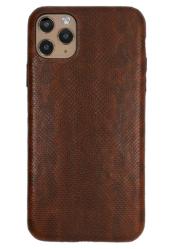 Чехол-накладка кожаная для iPhone 11 Pro No Logo Карунг (Коричневый)