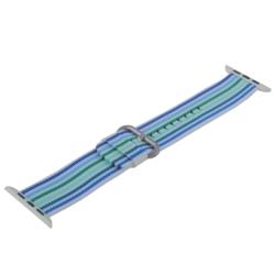 Ремешок из плетёного нейлона для Apple Watch 42/ 44мм COTEetCI W30 Nylon Rainbow Band (Бело-Синий)
