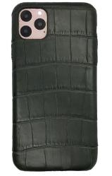 Чехол-накладка кожаная для iPhone 11 Pro No Logo Аллигатор (Черный)