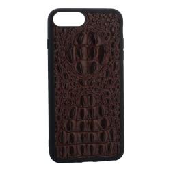 Чехол-накладка кожаная для iPhone 7 Plus/ 8 Plus Vorson крокодил (Коричневый)