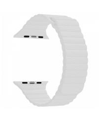 Ремешок кожаный для Apple Watch 42/ 44мм Рифленый (Белый)