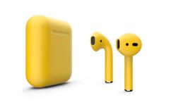 Беспроводная гарнитура Apple AirPods 2 Color беспроводная зарядка чехла (Желтый матовый)