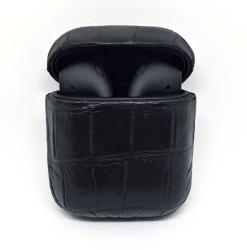 Беспроводная гарнитура Apple AirPods 2 CROCODILE MAX беспроводная зарядка чехла (Черный)