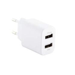 Сетевое зарядное устройство Deppa Ultra MFI 2.1A, витой кабель 8-pin Lightning (2USB: 5V/1A & 5V/2.1A) Белый