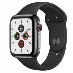 Умные часы Apple Watch S5 GPS + Cellular 44mm Space Black Stainless Steel Case with Black Sport Band