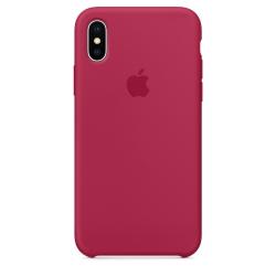 Силиконовый чехол для iPhone X/ XS (Красная роза)