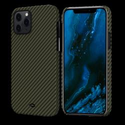 Кевларовый Чехол Pitaka Для Apple IPhone 12/ 12 Pro в полоску (Черно-зеленый)