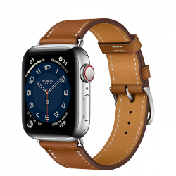 Часы Apple Watch Hermès Series 6 GPS + Cellular 40mm Silver Stainless Steel Case with Fauve Barénia Leather Single Tour