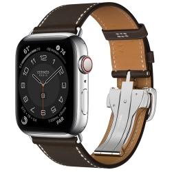 Часы Apple Watch Hermès Series 6 GPS + Cellular 44mm Silver Stainless Steel Case with Ébène Barénia Leather Single Tour Deployment Buckle