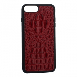 Чехол-накладка кожаная для iPhone 7 Plus/ 8 Plus Vorson крокодил (Красный)