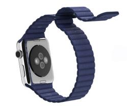 Ремешок кожаный для Apple Watch 42/ 44мм Рифленый (Синий)