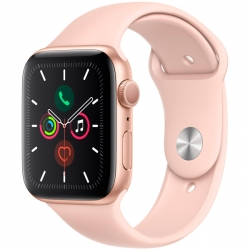 Умные часы Apple Watch S5 44mm Gold Aluminium Case with Pink Sport Band (MWVE2)