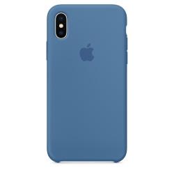 Силиконовый чехол для iPhone X/ XS (Синий деним)