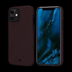 Чехол для iPhone 12 mini Pitaka MagEZ Case в полоску (Черно-красный)